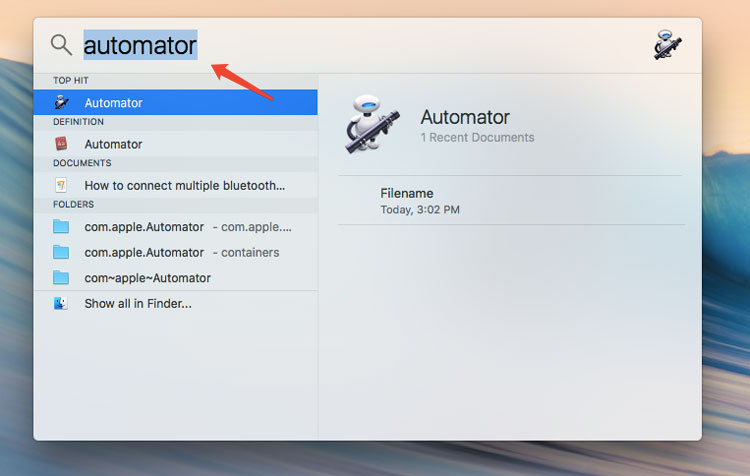 How to use Automator work flow to copy files to destination