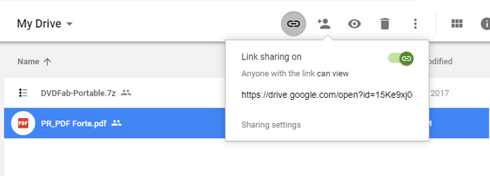 generate links by google drive.