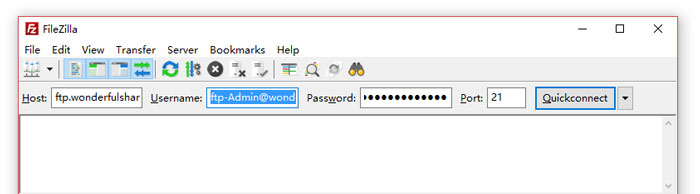 login FTP account with FileZilla.