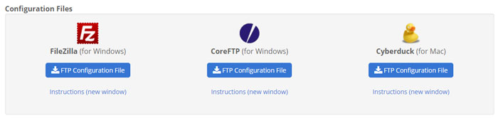 Three recommended ftp clients from Bluehost.