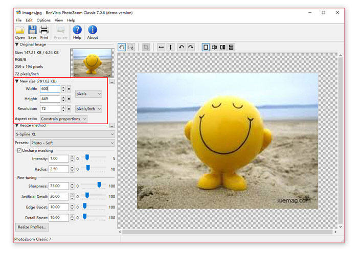 Enlarge images with PhotoZoom Classic 7