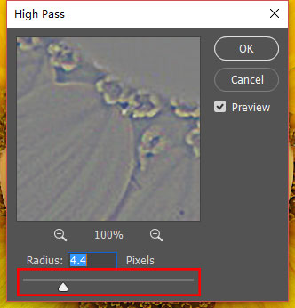 adjust the pixels in high pass box.