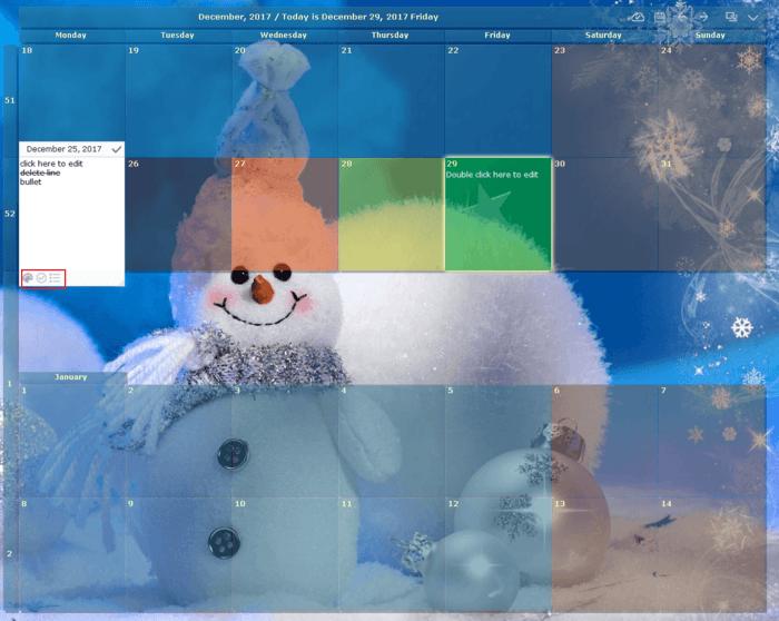 screenshot of desktop calendar