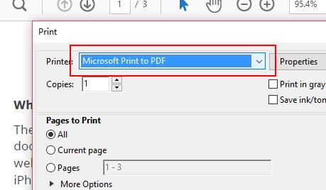 choose microsoft print to pdf.