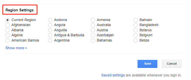 configure google region settings