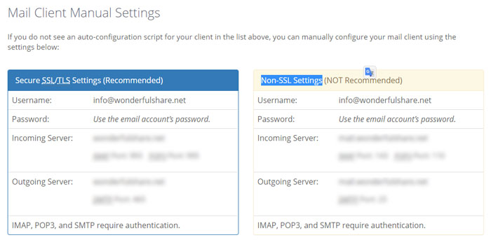 mail client manual settings in bluehost.