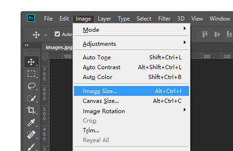 open Image Size in photoshop box.