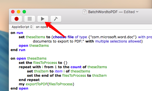how to batch convert word and pages docs to pdf with applescript on