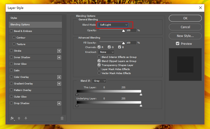 set blend mode to soft light in layer style box.