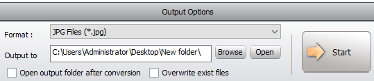 """Set output path and press the """"Start"""" button."""
